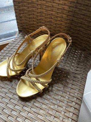 Miu Miu Strapped High-Heeled Sandals gold-colored