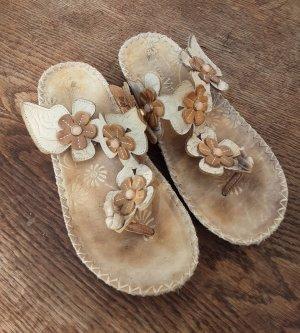 Sandale Pantolette Zehentrenner braun/grau
