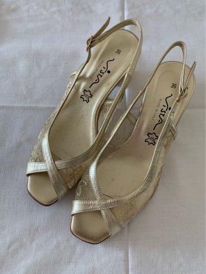 Sandale Peeptoe Gold Gr. 36