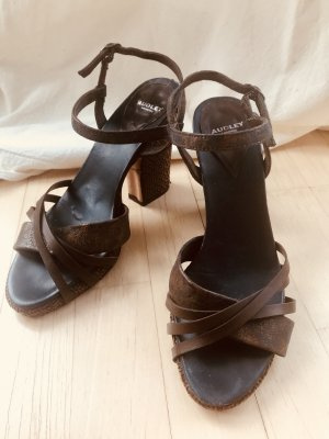Audley Platform Sandals dark brown-dark blue leather