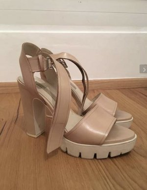 Zara Women Platform High-Heeled Sandal white-nude