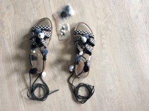 Romeinse sandalen wit-zwart