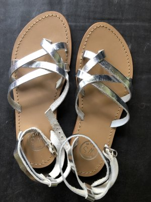 Beach Sandals silver-colored leather