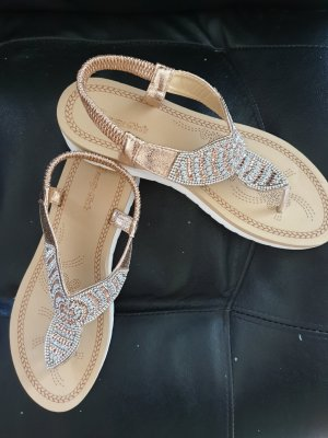 Sandalias de tacón con plataforma color rosa dorado-crema
