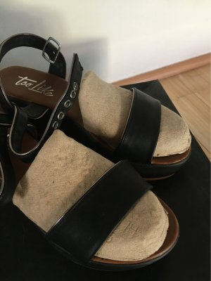 Platform Sandals black-silver-colored