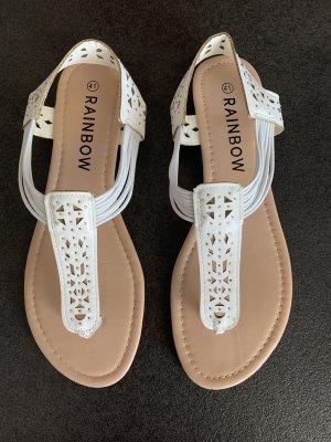 Rainbow Toe-Post sandals white