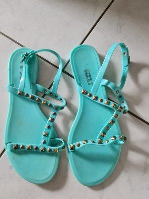 Sandalen met bandjes en hoge hakken turkoois