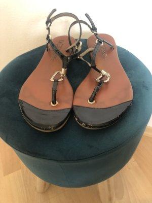 Cm Laufsteg Sandalo toe-post marrone-nero