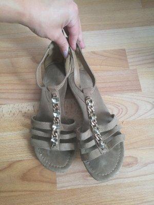 Sandalo con cinturino oro-beige