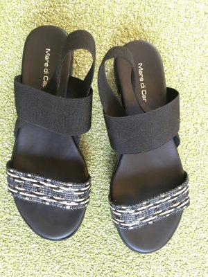 Mare di Capri Plateauzool sandalen zwart-wit