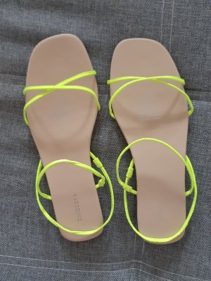 H&M Divided Strapped High-Heeled Sandals neon yellow