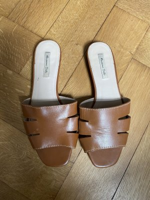 Massimo Dutti Sabots brown-cognac-coloured