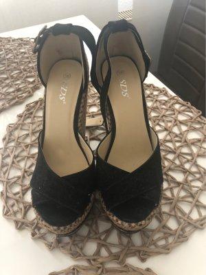 SDS Sandales à talons hauts et plateforme noir-beige
