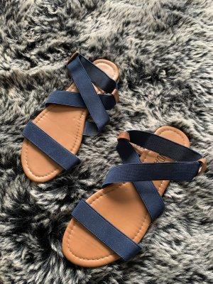 Sandalias de playa color bronce-azul