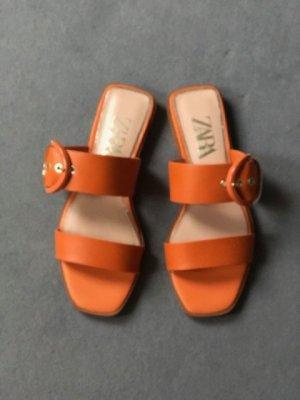 Zara Dianette Sandals orange leather