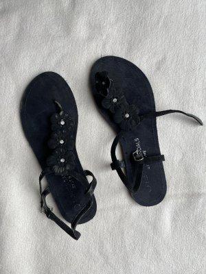 Teenslippers zwart-donkerblauw