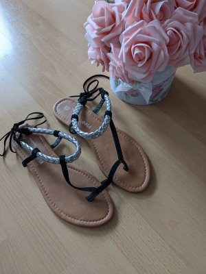 by johanna T-Strap Sandals black-silver-colored