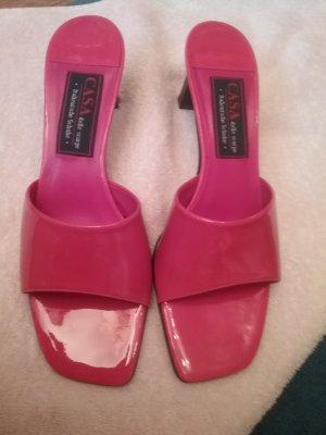Sandalias para uso en exteriores rojo frambuesa Cuero