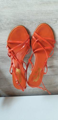 Only Pink Sandalias de tiras naranja neón