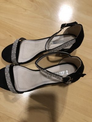 Strapped Sandals black-silver-colored