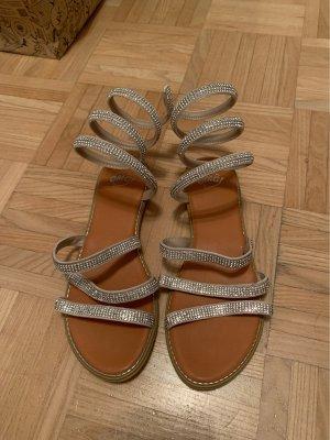 OMG Sandały rzymskie srebrny-jasnobrązowy