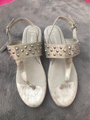 Marco Tozzi Sandały japonki z rzemykami srebrny