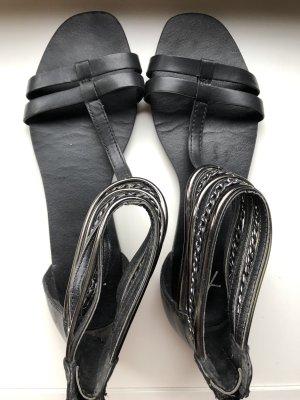 Sandalo romano nero-argento Pelle
