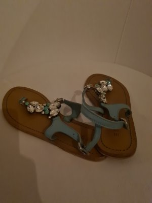 Esprit T-Strap Sandals pale blue-azure leather