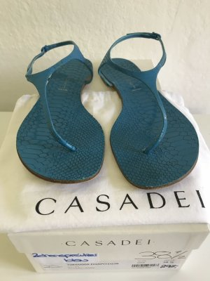 Casadei Strapped Sandals cadet blue reptile leather