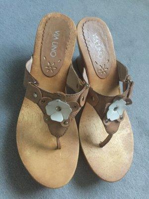 Via uno Sandales à plateforme chameau-blanc cuir