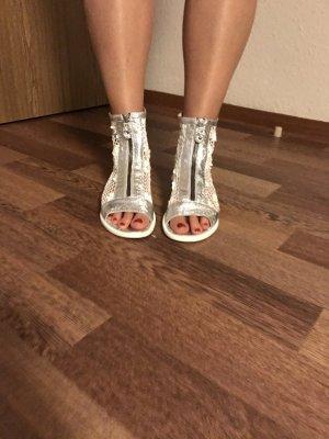 Sandalias con plataforma blanco-color plata