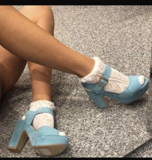 Sandalias con plataforma azul bebé