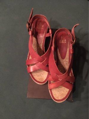 Billi Bi Sandalo con plateau rosso scuro Pelle