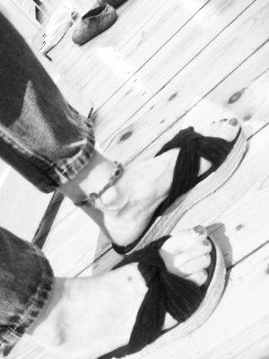 H&M Basic Outdoor sandalen zwart-camel Gemengd weefsel