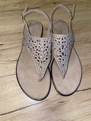 Sandalo toe-post color oro rosa