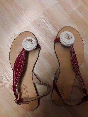 Sandały japonki z rzemykami czerwony