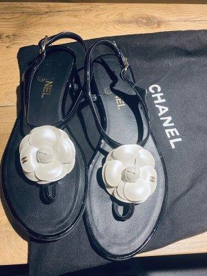 Chanel Flip flop sandalen zwart-licht beige