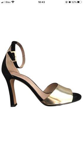 Chloé Sandales à plateforme noir-doré cuir