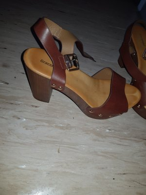 Grace Platform High-Heeled Sandal brown-cognac-coloured