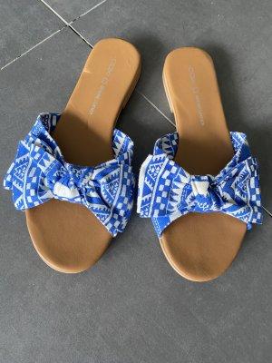 Strandsandalen wit-blauw