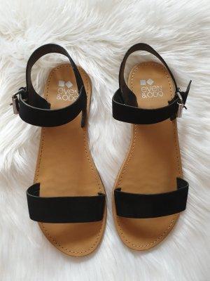 Even & Odd Strapped Sandals black-silver-colored