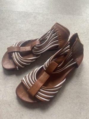 Sandalias cómodas color bronce-blanco tejido mezclado
