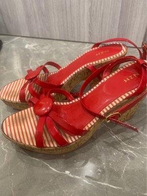 Sandalias tipo clog blanco-rojo