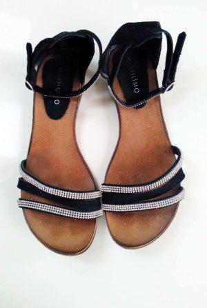 Sandalias romanas negro-gris claro Cuero