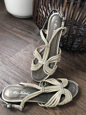 Sandalen flach Leder Bändchen