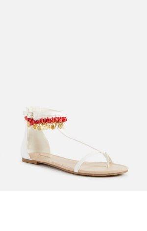 Sandalen Flache Schuhe Knöchelkette neu weiß orange rot gold 40,5