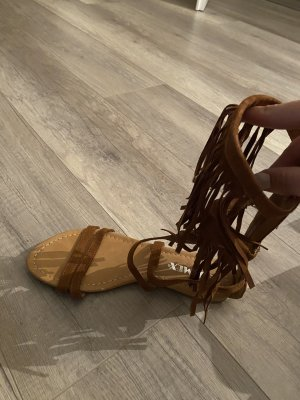 Sandalen fransen braun