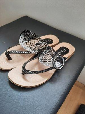 GaGa Golden Sandalias de tacón con talón descubierto blanco-negro