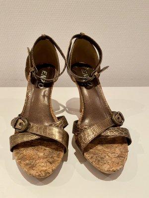 Sandalias con plataforma marrón claro-ocre Cuero