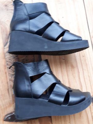 Sandalo con plateau nero Tessuto misto